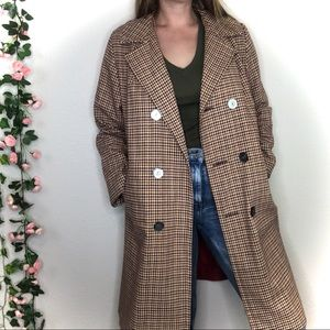 VTG Wool Houndstooth Plaid Long Pea Trench Coat